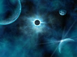 Blue Planets Eclipse in Space